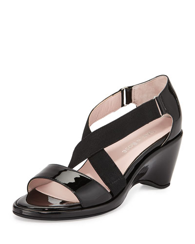 Maura Patent Stretch Wedge Sandal, Black