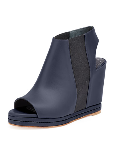 Open-Toe Leather Wedge Bootie, Black