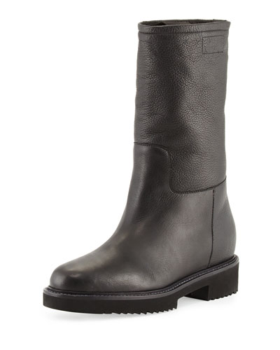 Chenay Shearling Fur-Lined Boot, Black
