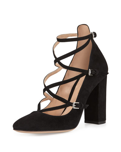 Strappy Crisscross Suede Pump, Black