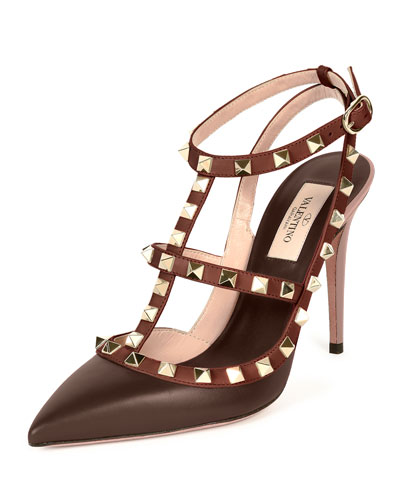 Rockstud Colorblock Leather Sandal, Morello/Crimson