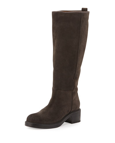 Ione Tall Leather Boot, Anthracite