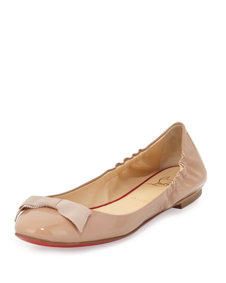 best sneakers d4b2f b0bb8 Gloriana Patent Bow Red Sole Skimmer Nude