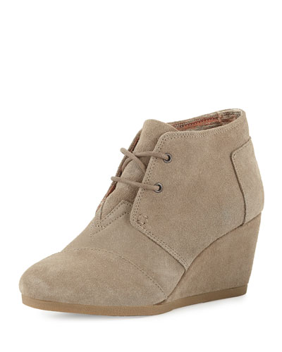 Suede Desert Wedge Bootie, Natural Taupe