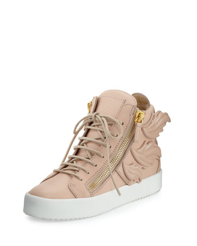 Flame Leather High-Top Sneaker, Shell