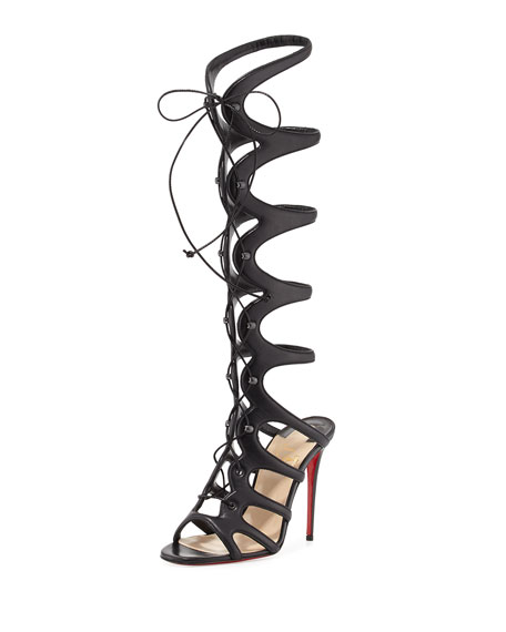 quality design 517dd 00954 Amazoula 100mm Leather Gladiator Red Sole Sandal Black