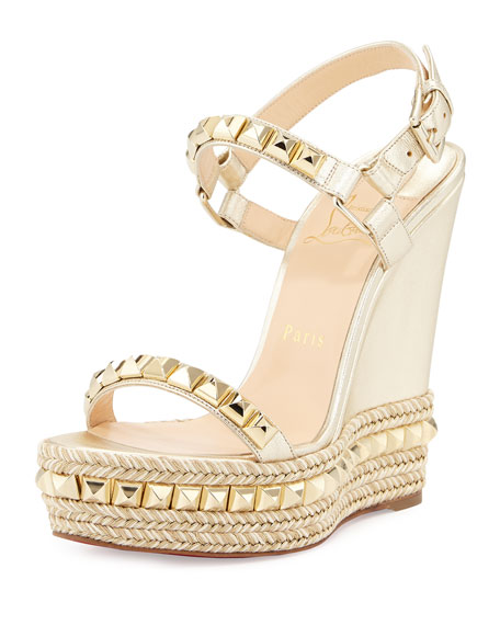 c99707a78fd Cataclou Studded Leather Wedge Red Sole Sandal Sahara/Light Gold