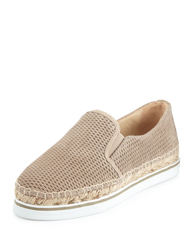 Dawn Suede Espadrille Sneaker, Light Gold