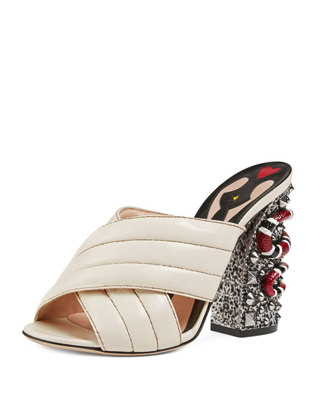 Gucci Webby Quilted Leather Snake-Heel Mule Sandal 681566511