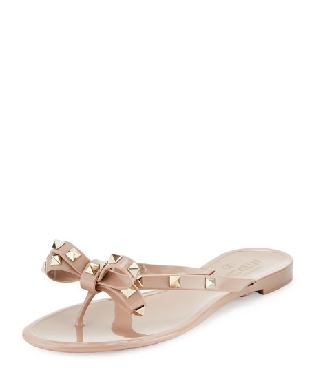 df0e9ba10171 Valentino Rockstud PVC Flat Thong Sandal