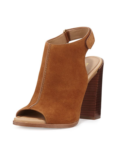 Maeve Suede Open-Toe Bootie, Luggage