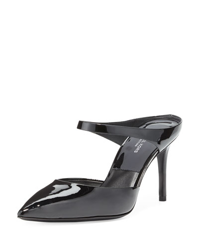 Helene Patent Pointed-Toe Mule, Black