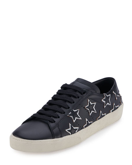 68dc08db192 Saint Laurent Star Court Classic Low-Top Sneaker, Black/Silver  (Nero/Argento)