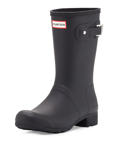 hunter boot original tour matte short rain boot black