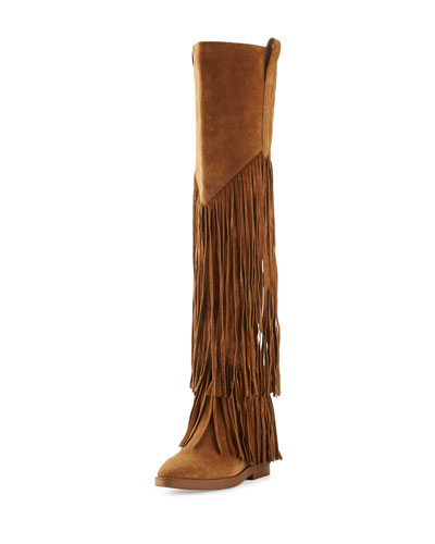 Gipsy Fringe Suede Over-The-Knee Boot, Russet