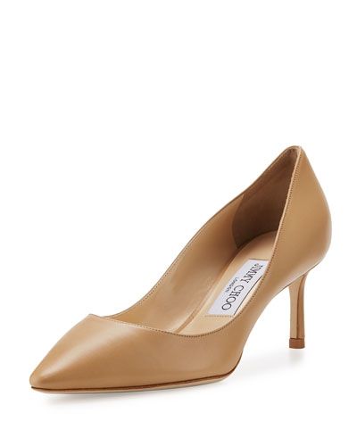 Romy Leather Pointed-Toe 60mm Pump, Nude