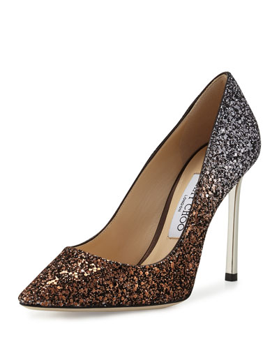 Romy Glitter Pointed-Toe 100mm Pump, Bronze/Anthracite