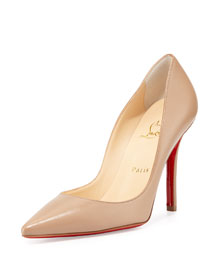 Apostrophy Pointed Red Sole Pump, Nude