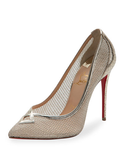 Neoalto Mesh 100mm Red Sole Pump, Gold