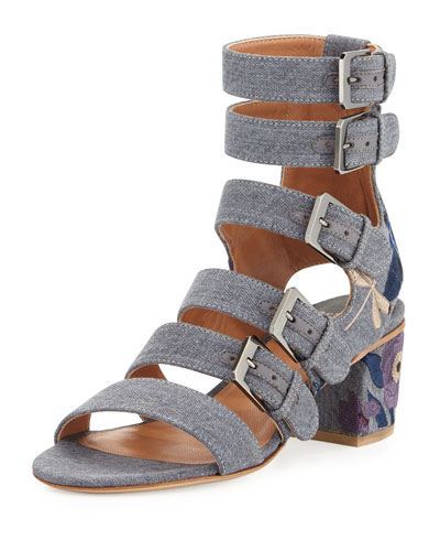 Nora Embroidered Buckle-Strap Sandal, Stone/Blue