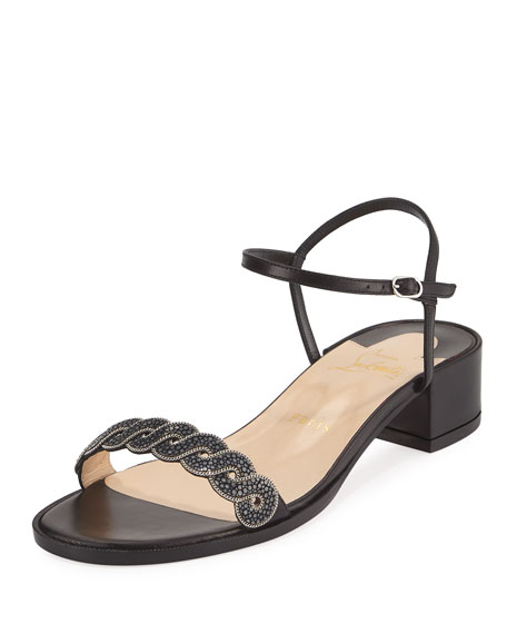 detailed look f1e87 e8473 Woven Stingray Low-Heel Red Sole Sandal Black