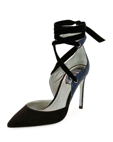Rene Caovilla Two-Tone Crystal-Back Ankle-Wrap Pump, Black/Blue