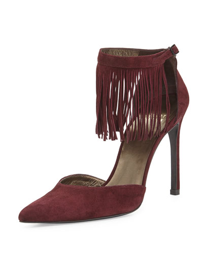 Fringelica Suede Pointed-Toe Pump