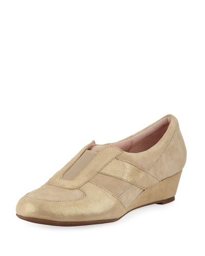 Pooms Metallic Low Wedge Traveler Shoe