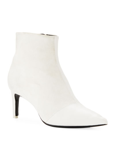 Beha Mixed Leather & Suede Zip Boot, White