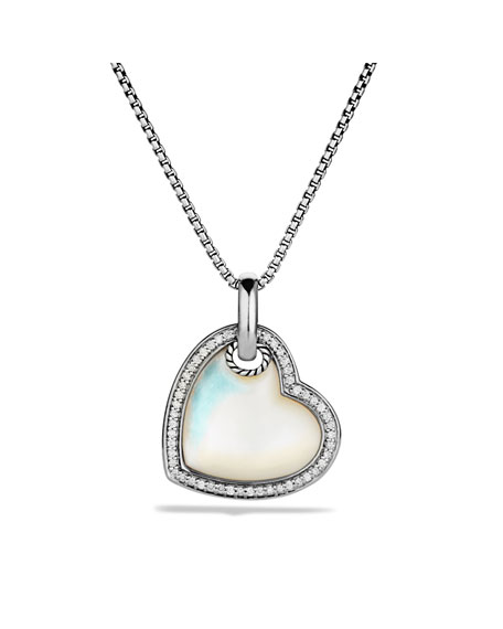 Mother of pearl heart necklace necklace wallpaper gallerychitrak david yurman cable heart pendant with mother of pearl and diamonds aloadofball Image collections
