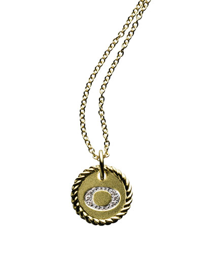 """O"" Pendant with Diamonds in Gold on Chain"