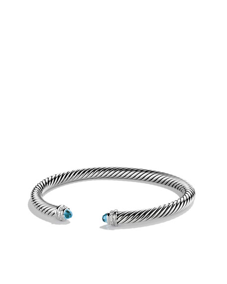 Cable Clics Bracelet With Blue Topaz And Diamonds