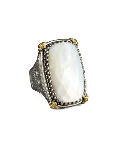 Rectangular Mother of Pearl Selene Ring
