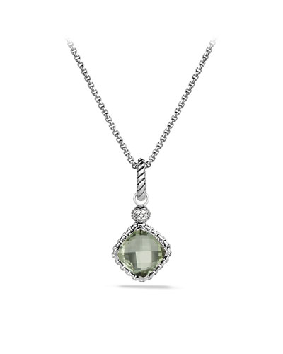 Cushion on Point Pendant with Prasiolite