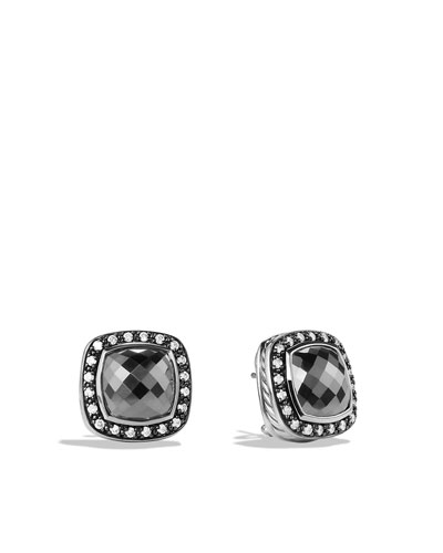 Albion Earrings with Hematine and Diamonds