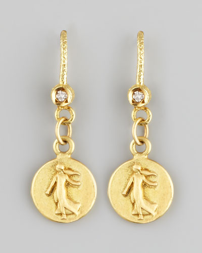Petite Goddess Coin Drop Earrings