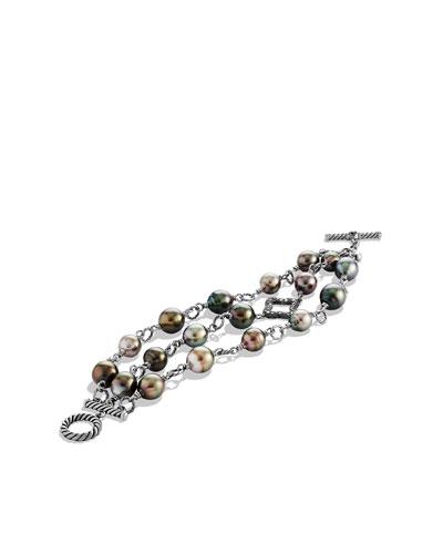 Three-Row Bracelet with Pearls and Diamonds