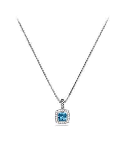 Petite Albion Pendant with Hampton Blue Topaz and Diamonds on Chain