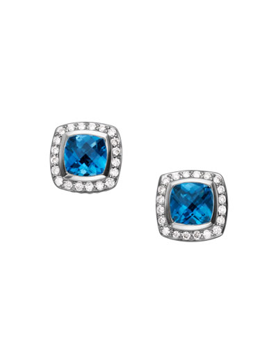 Petite Albion Earrings, Blue Topaz, 7mm