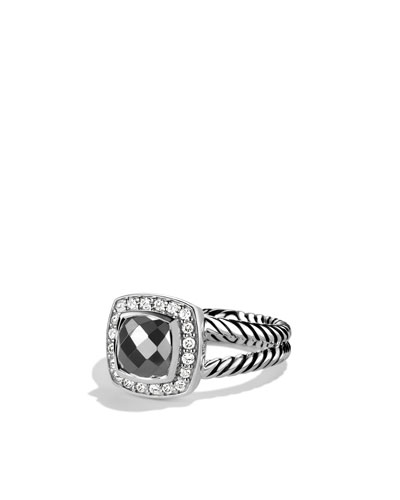 Petite Albion Ring with Hematine and Diamonds
