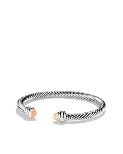 Cable Classics Bracelet with Rose Quartz and Diamonds