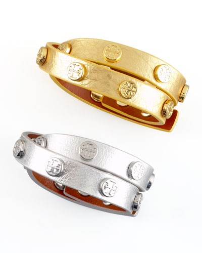 Metallic Logo-Studded Bracelet