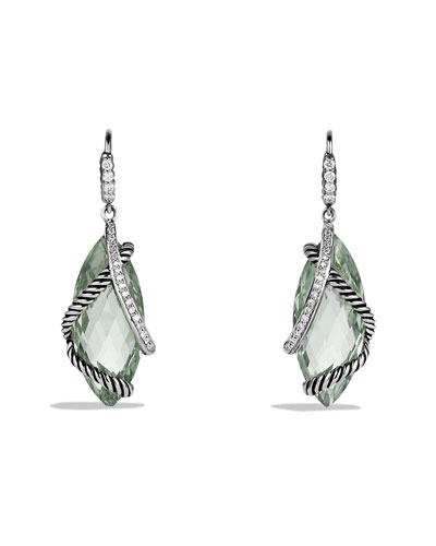 Cable Wrap Drop Earrings with Prasiolite and Diamonds