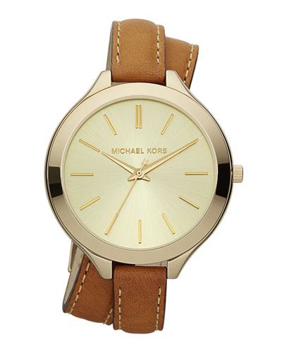 Double-Wrap Leather Watch, Golden