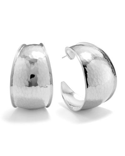 Hammered Silver Goddess Hoop Earrings, Large