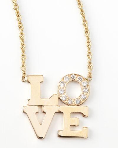 Pave Diamond Love Pendant Necklace