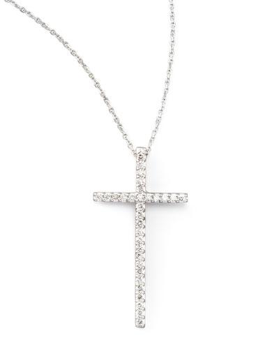 Large Diamond-Cross Pendant Necklace, White Gold