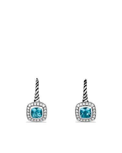 Albion Drop Earrings with Blue Topaz and Diamonds