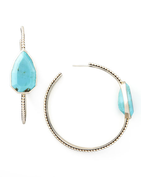 821720c41 Stephen Dweck Cathedral Large Silver Hoop Earrings, Turquoise