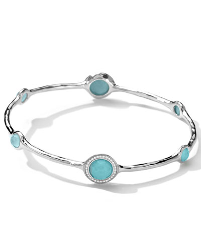 Stella Bangle in Turquoise Double with Diamonds